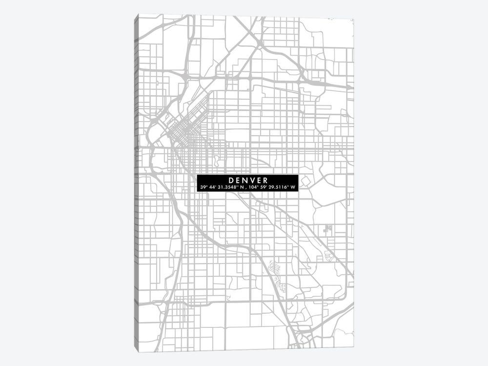 Denver City Map Minimal by WallDecorAddict 1-piece Canvas Print