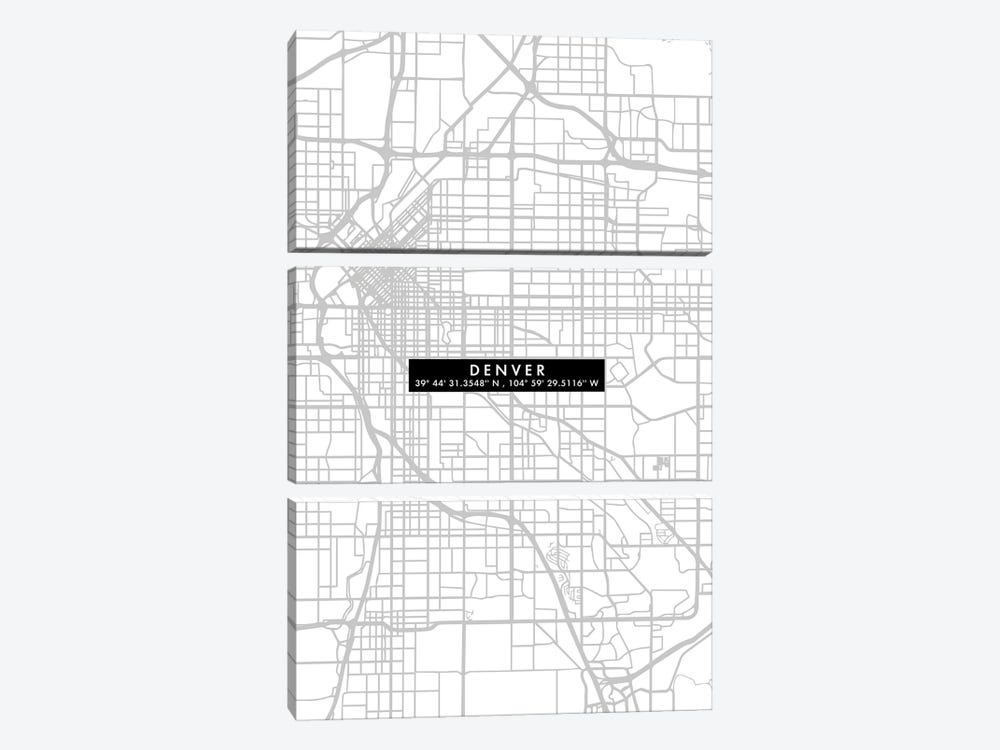 Denver City Map Minimal by WallDecorAddict 3-piece Canvas Art Print