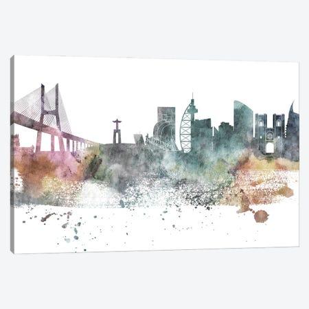 Lisbon Pastel Skyline Canvas Print #WDA1065} by WallDecorAddict Canvas Art Print