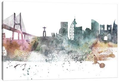 Lisbon Pastel Skyline Canvas Art Print