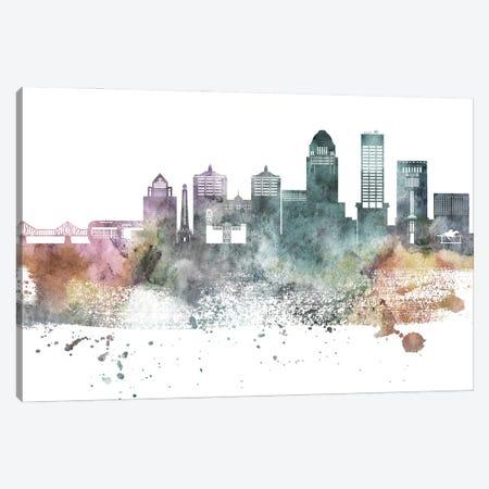 Louisville Pastel Skyline Canvas Print #WDA1067} by WallDecorAddict Art Print