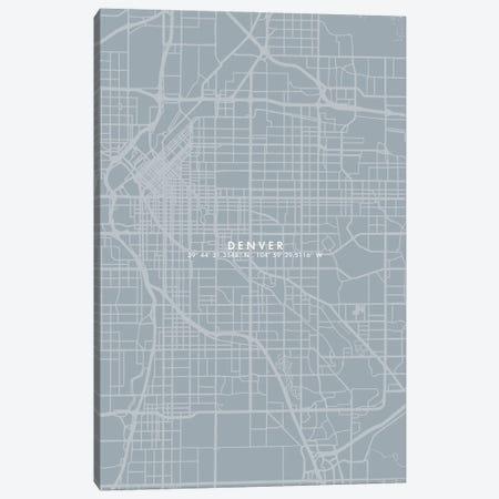 Denver City Map Simple Color Canvas Print #WDA106} by WallDecorAddict Canvas Print