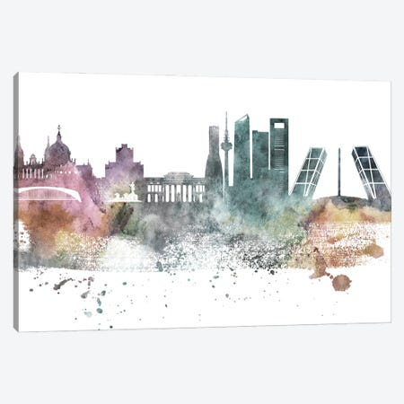 Madrid Pastel Skyline Canvas Print #WDA1070} by WallDecorAddict Art Print