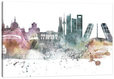 Madrid Pastel Skyline Canvas Art Print