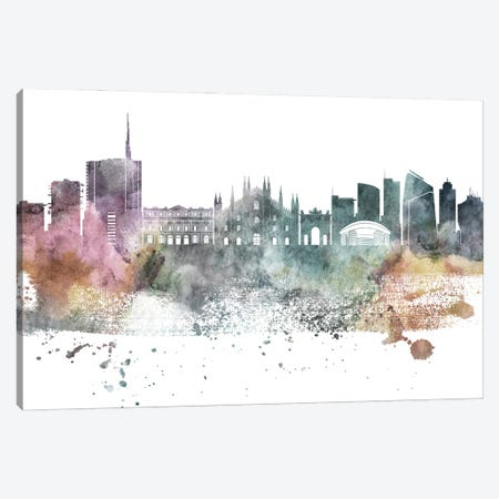 Milan Pastel Skyline Canvas Print #WDA1074} by WallDecorAddict Canvas Art
