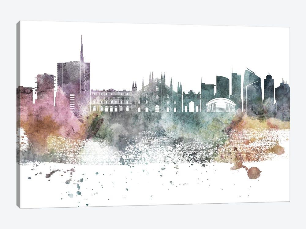 Milan Pastel Skyline by WallDecorAddict 1-piece Canvas Art Print