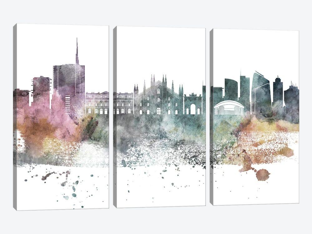 Milan Pastel Skyline by WallDecorAddict 3-piece Art Print