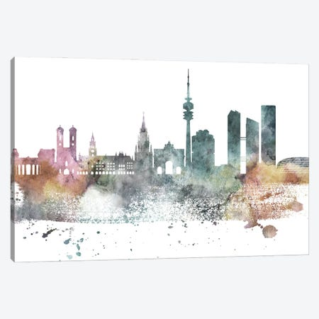 Munich Pastel Skyline Canvas Print #WDA1078} by WallDecorAddict Art Print