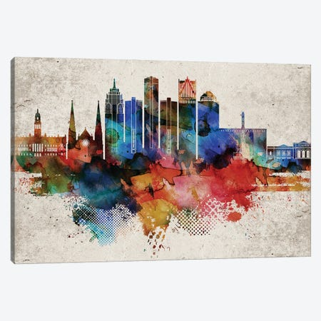 Detroit Abstract Canvas Print #WDA107} by WallDecorAddict Canvas Art Print