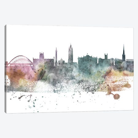 Newcastle Pastel Skyline Canvas Print #WDA1080} by WallDecorAddict Canvas Wall Art