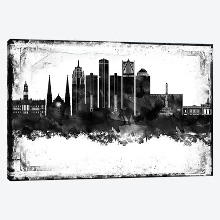 Detroit Black And White Framed Skylines Canvas Print #WDA108} by WallDecorAddict Canvas Artwork