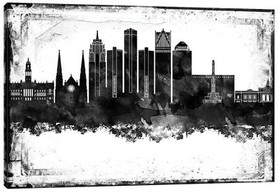 Detroit Black And White Framed Skylines Canvas Art Print