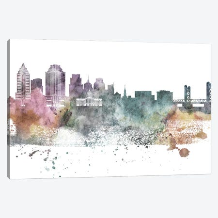 Sacramento Pastel Skyline Canvas Print #WDA1097} by WallDecorAddict Canvas Wall Art