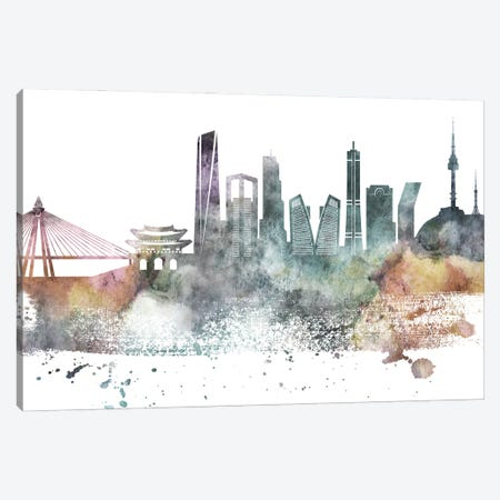Seoul Pastel Skyline Canvas Print #WDA1098} by WallDecorAddict Canvas Art Print