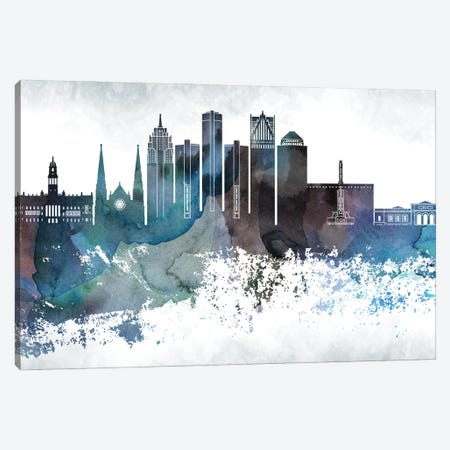 Detroit Bluish Skylines Canvas Print #WDA109} by WallDecorAddict Canvas Art