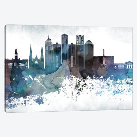 Detroit Bluish Skylines Canvas Print #WDA109} by WallDecorAddict Canvas Art