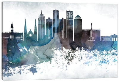 Detroit Bluish Skylines Canvas Art Print