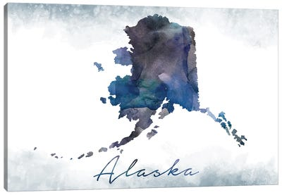 Alaska State Bluish Canvas Art Print
