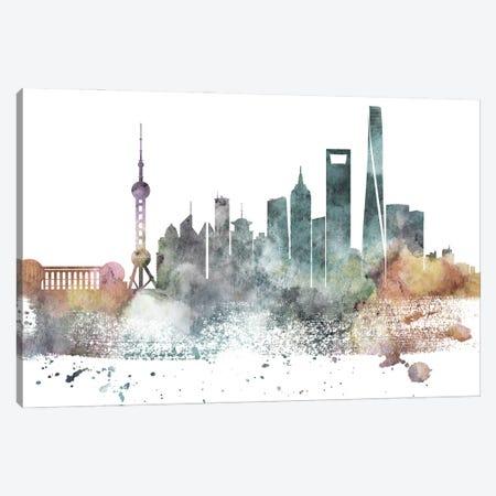 Shanghai Pastel Skyline Canvas Print #WDA1100} by WallDecorAddict Canvas Print
