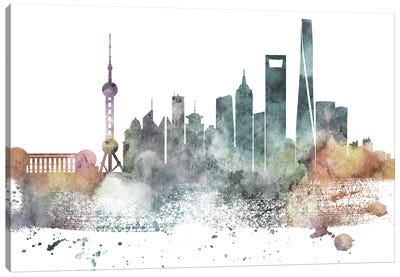 Shanghai Pastel Skyline Canvas Art Print