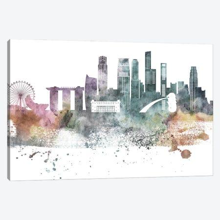 Singapore Pastel Skyline Canvas Print #WDA1101} by WallDecorAddict Canvas Art Print