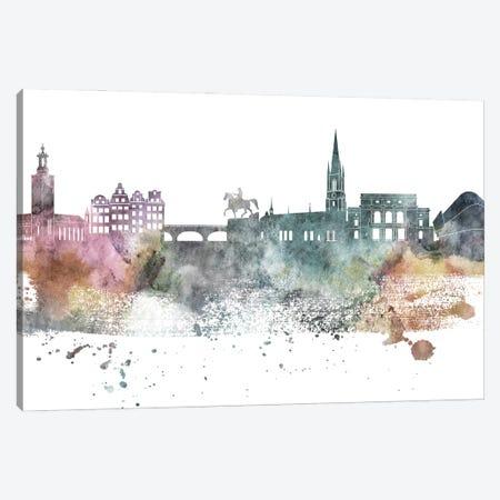 Stockholm Pastel Skyline Canvas Print #WDA1102} by WallDecorAddict Art Print