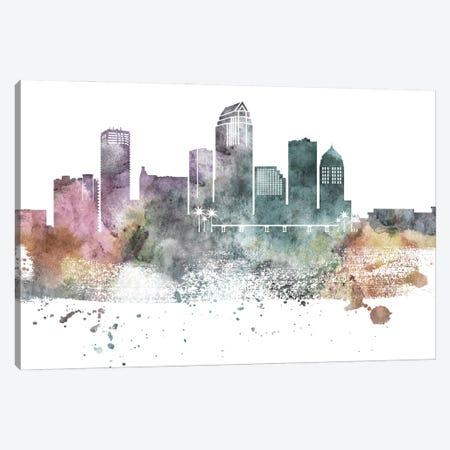 Tampa Pastel Skyline Canvas Print #WDA1104} by WallDecorAddict Canvas Artwork