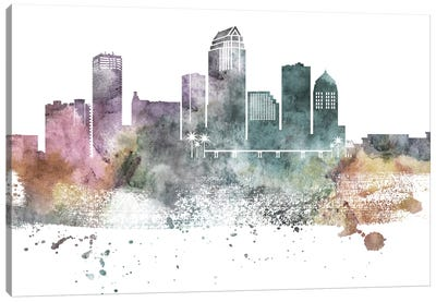 Tampa Pastel Skyline Canvas Art Print