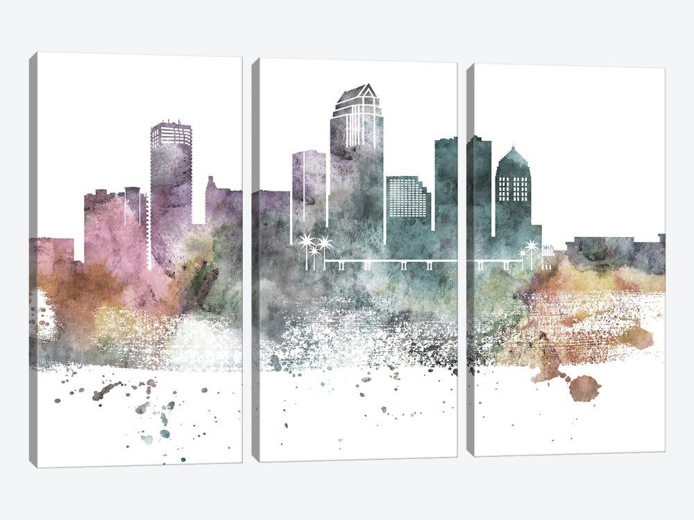 Tampa Pastel Skyline by WallDecorAddict 3-piece Canvas Art Print