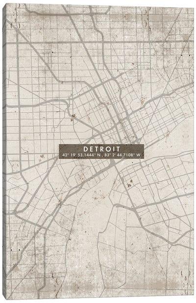 Detroit City Map Abstract Canvas Art Print