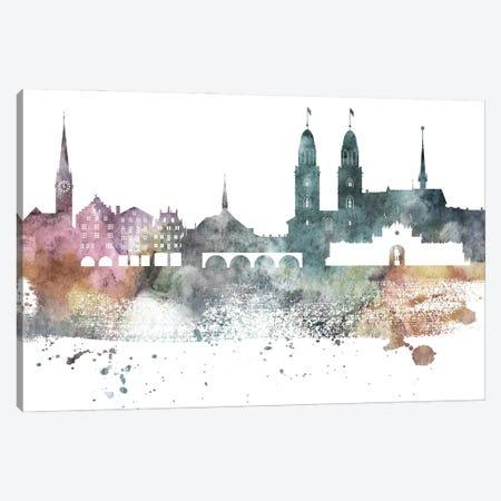 Zurich Pastel Skyline Canvas Print #WDA1114} by WallDecorAddict Art Print