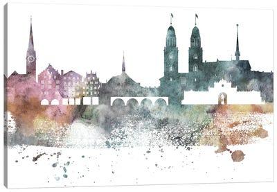 Zurich Pastel Skyline Canvas Art Print