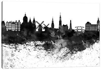 Amsterdam Black & White Drops Skyline Canvas Art Print