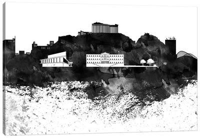 Athens Black & White Drops Skyline Canvas Art Print