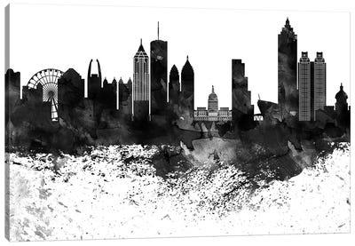 Atlanta Black & White Drops Skyline Canvas Art Print