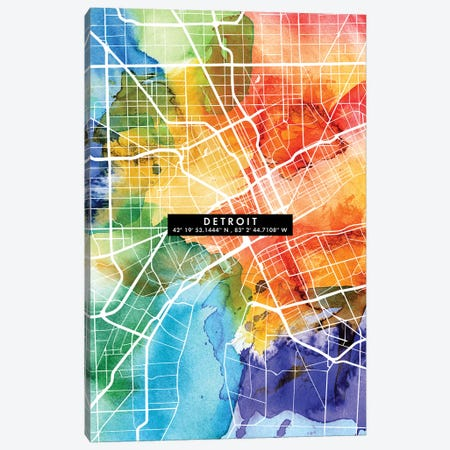 Detroit City Map Colorful Canvas Print #WDA111} by WallDecorAddict Canvas Art Print