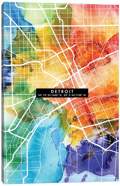 Detroit City Map Colorful Canvas Art Print