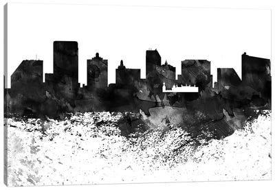 Atlantic City Black & White Drops Skyline Canvas Art Print