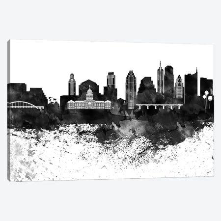 Austin Black & White Drops Skyline Canvas Print #WDA1122} by WallDecorAddict Canvas Print