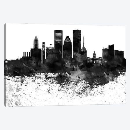 Baltimore Black & White Drops Skyline Canvas Print #WDA1123} by WallDecorAddict Canvas Art Print