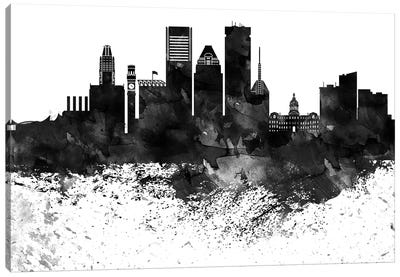 Baltimore Black & White Drops Skyline Canvas Art Print
