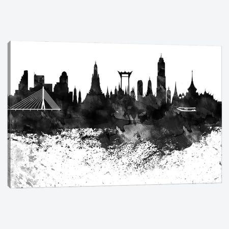 Bangkok Black & White Drops Skyline Canvas Print #WDA1124} by WallDecorAddict Canvas Art