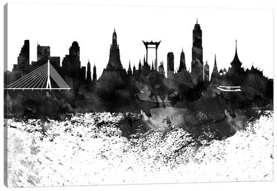 Bangkok Black & White Drops Skyline Canvas Art Print