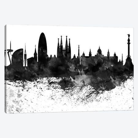 Barcelona Black & White Drops Skyline Canvas Print #WDA1125} by WallDecorAddict Canvas Wall Art