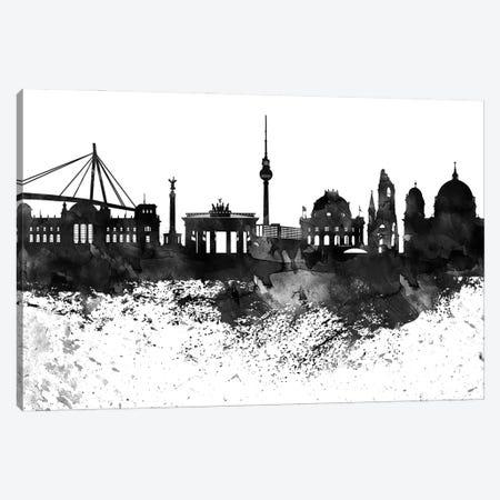 Berlin Black & White Drops Skyline Canvas Print #WDA1128} by WallDecorAddict Art Print