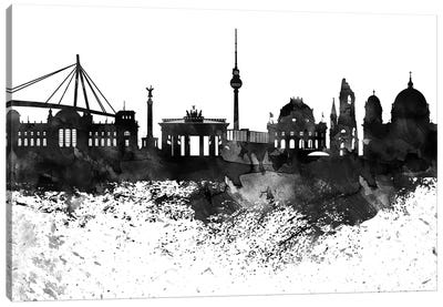 Berlin Black & White Drops Skyline Canvas Art Print
