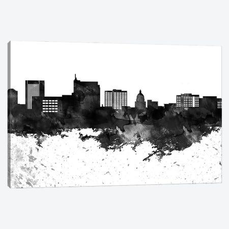 Boise Black & White Drops Skyline Canvas Print #WDA1129} by WallDecorAddict Canvas Art Print
