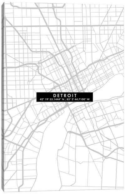 Detroit City Map Minimal Canvas Art Print