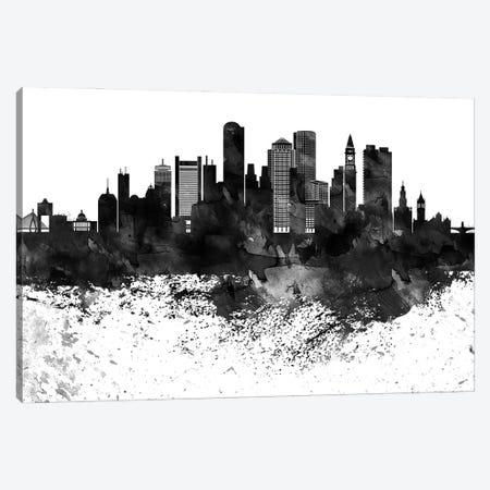 Boston Black & White Drops Skyline Canvas Print #WDA1130} by WallDecorAddict Canvas Art