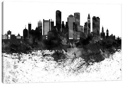 Boston Black & White Drops Skyline Canvas Art Print